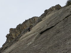 Rock Climbing Photo: Unknown climber above the last bolt on P1 of Stone...