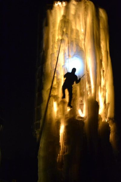 Night ice climbing