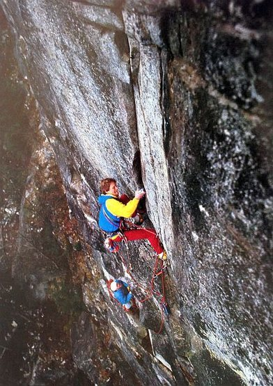 Greg Collum on the 2nd pitch of Kite Flying Blind (5.11c), Index Town Walls<br> <br> Photo by Larry Kemp