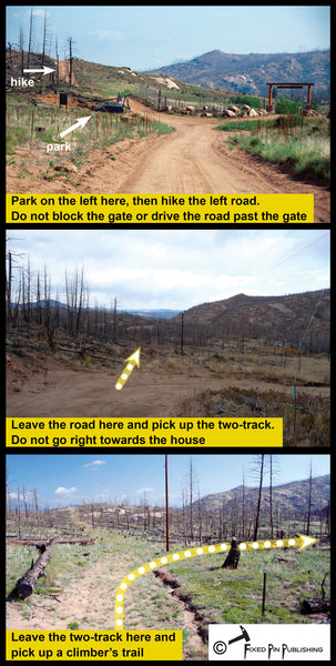 Parking and key hiking points for Thunder Ridge.