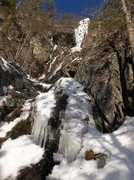 Rock Climbing Photo: The dike and head wall ice route right.