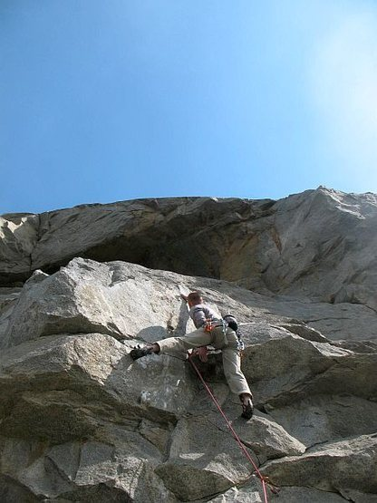 Rock Climbing Photo: Will mid-crux on Bottom Feeder (5.11b), Riverside ...