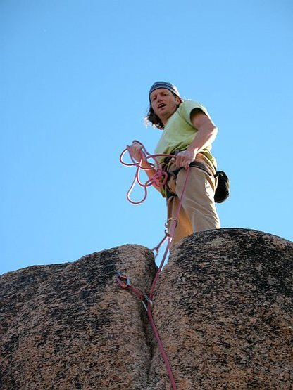 At the top of Edgeucator (5.11a), Keller Peak