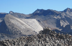 Rock Climbing Photo: 1000 foot slabs north of Elizabeth Pass, as seen f...