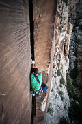 Rock Climbing Photo: Matt Kuehl climbs the splitter. Photo: Andy Reger