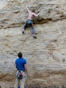 Rock Climbing Photo: Moving to the second bolt