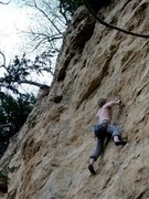 Rock Climbing Photo: Higher up on the small crimps