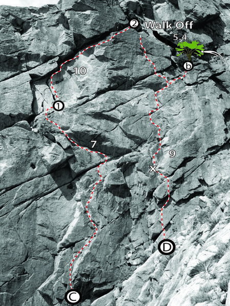 Rock Climbing Photo: Topo of the two routes at the Hot Gates. C. Goat P...