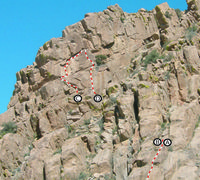 View of the routes at Hot Gate and Done For Already from the West End of Southern Comfort Wall.