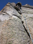 Rock Climbing Photo: Looking up the bolted handcrack first pitch on the...