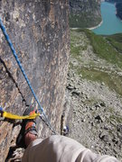 Rock Climbing Photo: Looking down from the top of P2 and the offwidth o...