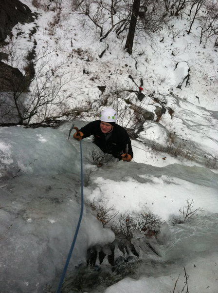 Chance on the steeps, nearing the end of pitch two on this mystery line.