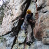Davids Castle Wall<br> <br> Sadistic Rhythm (5.10-)<br> <br> Crowders Mountain State Park, North Carolina