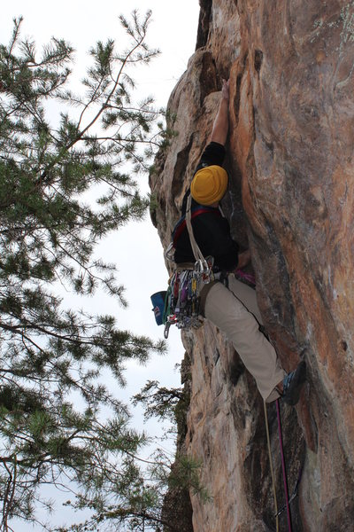 Davids Castle Wall<br> <br> Sadistic Rhythm (5.10-) trad<br> <br> Crowders Mountain State Park, North Carolina