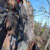 Rising Sun Wall<br> <br> Buddha Bulge (5.10) trad<br> <br> Crowders Mountain State Park, North Carolina