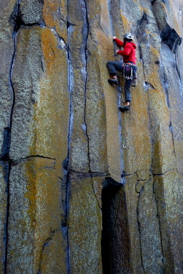 Rock Climbing Photo: Moving into the layback section on Snake Bite.  Ph...