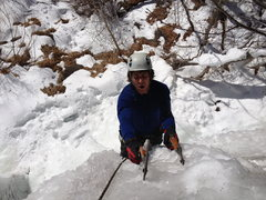 Rock Climbing Photo: Mike Donaldson at the top of the 2nd Tier, WI4.