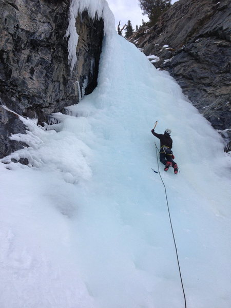 Rock Climbing Photo: Mike Donaldson on the 2nd tier of ice.