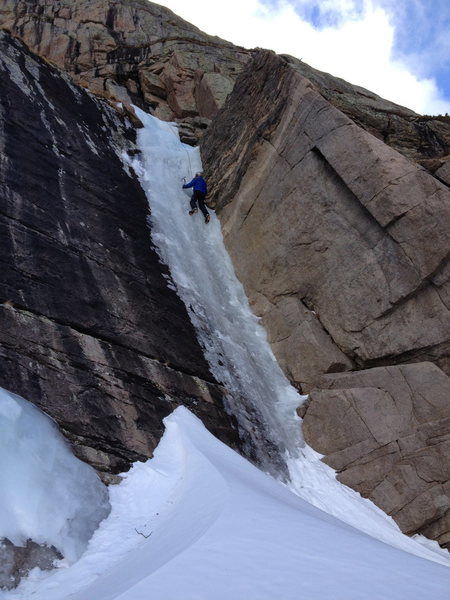 Art Missirlian on the ice flow immediately on the West end of Peacock Pool. WI3+.
