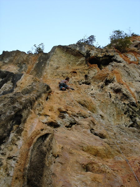 """Peter Jansson up near the crux of """"The Red Line"""""""