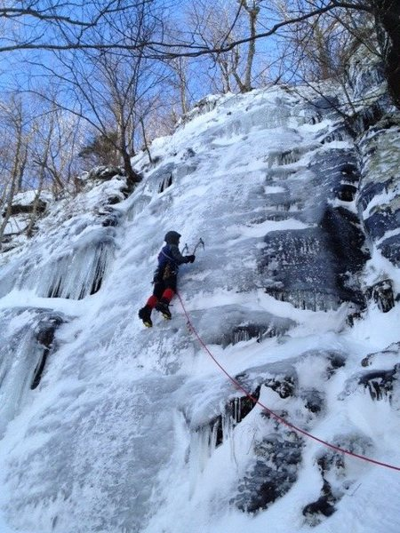 East Crag in early season condition.  Watch for thin/hollow ice at the top.