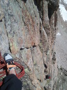 Rock Climbing Photo: Joe on the last pitch of Left of Left before joini...