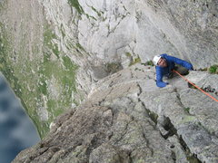 Rock Climbing Photo: Andy following the top of the crux pitch on the fi...