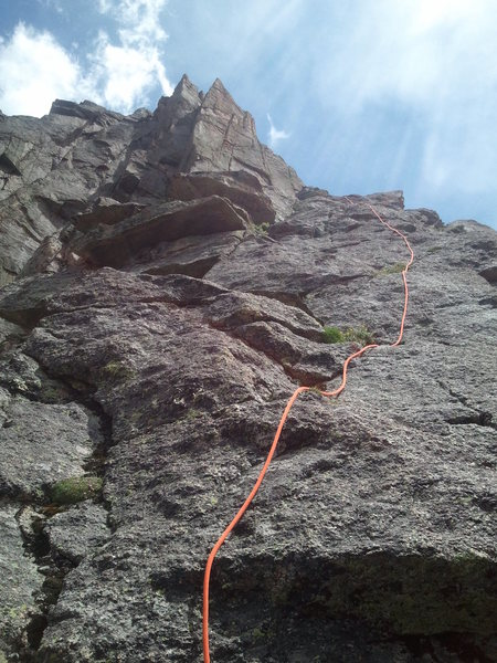 Rock Climbing Photo: The last approach pitch, just before the flying bu...