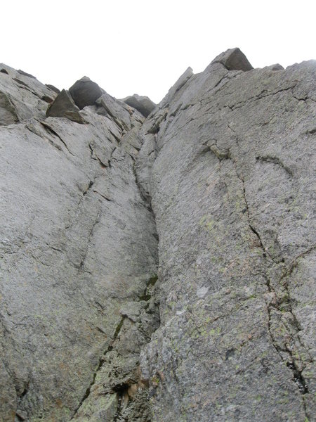 The crux pitch cracks on the right side of the photo.