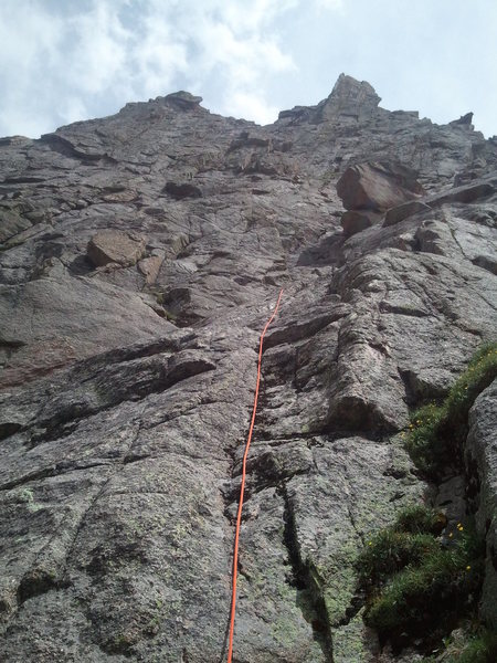 Rock Climbing Photo: The start of our chosen line through the lower sla...