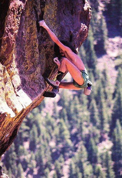 Derek Hersey soloing Vertigo (5.11b), Eldorado Canyon SP<br> <br> Photo by Alison Sheets