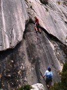 Rock Climbing Photo: Climbing through the distinctive geometry of Le Bo...
