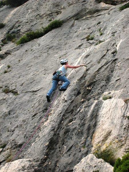 Neat face climbing on Le Boulon de Droite