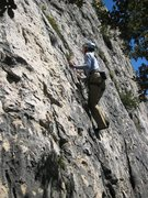 Rock Climbing Photo: Steep in the trees on Directe du Grand Parcours