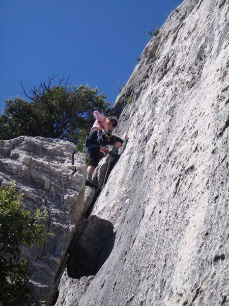 Rock Climbing Photo: Atop the chimney feature on Fastoch