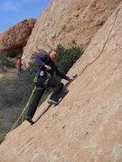 "Rock Climbing Photo: Negotiating the lower slab on ""Hyperion.&quot..."