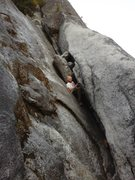 Rock Climbing Photo: Some bearded lunatic FREE SOLOING the EPIC 5.5 chi...
