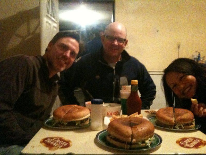 The worlds biggest hamburger... Good friends, cold beer, and long routes!<br> El Potreo Chico, Mexico