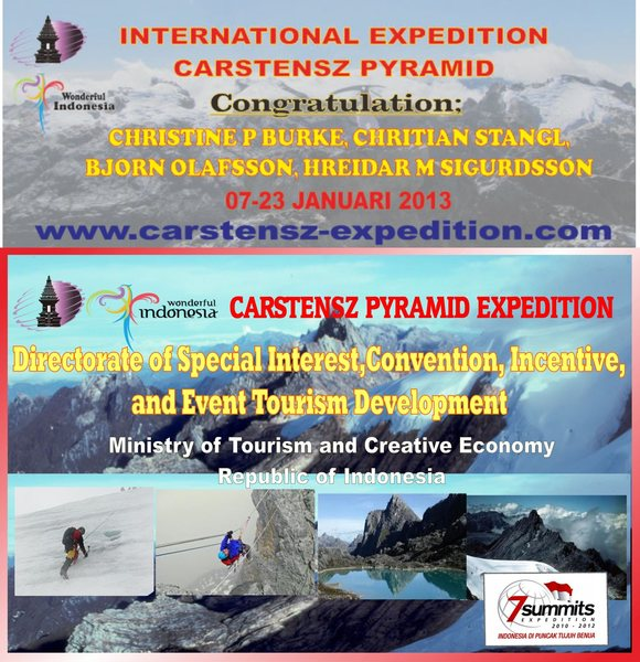 ~Congratulations to BJORN OLAFSSON, CHRISTINE P. JENSEN BURKE (@Chris Burke), CHRISTIAN STANGL, & HREIDAR SIGURDSSON,for SUMMIT CARSTENSZ PYRAMID this morning of 15 JANUARY 2013 (Papua Time)~<br> CARSTENSZ-EXPEDITION 1st Departure in 2013 - Trekking via Sugapa village, THANKS TO CREWS; Raymond Rengkung & Monintja Jemry.<br> Team is now back in BC, wishing them a safe trekking out.<br> *This status in dedicated to family and friends of those mentioned above*