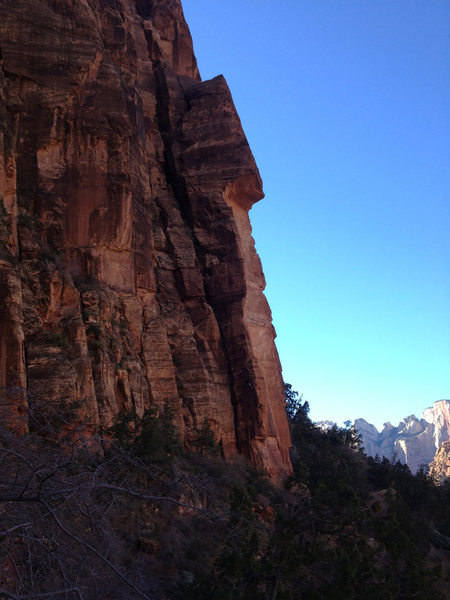 Rock Climbing Photo: Enter The Dragon climbs the arete just left of the...