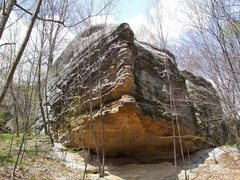 Rock Climbing Photo: The V2 boulder problem follows the crack under the...