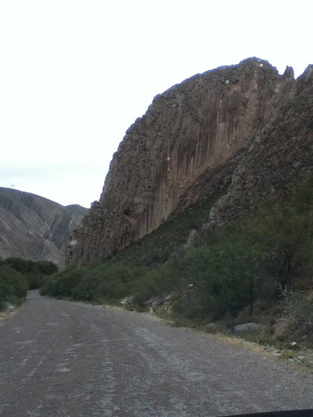 The West face of El Reliz as viewed when driving from the reservoir to Graceros.