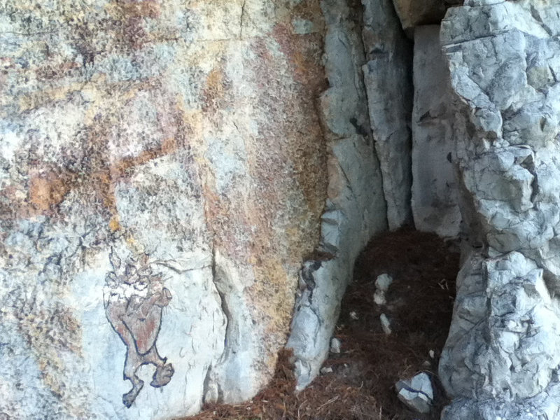 Rock Climbing Photo: Painting of 'Taz' himself at the base of his 10c c...