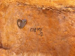 Rock Climbing Photo: route name, scrawled with a sharpie.