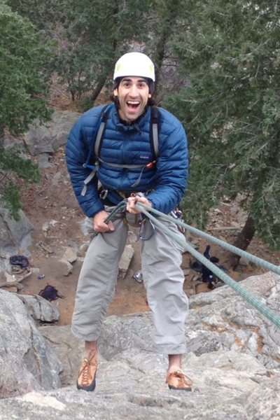 Rappelling off of Lothlorien on the Watermark in Boulder Canyon
