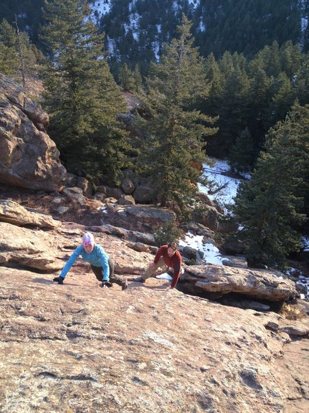 Tony & Lindz working their way up the Harmon Flatironette.