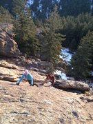 Rock Climbing Photo: Tony & Lindz working their way up the Harmon Flati...