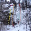 There is a bolted line to the left, a trad mix line right on the left edge of the ice and a fairly nice curtain of WI4-ish ice.  About 20-30 meters
