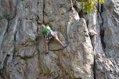 Rock Climbing Photo: Davids Castle Backside   The Dish (5.9) trad   Cro...