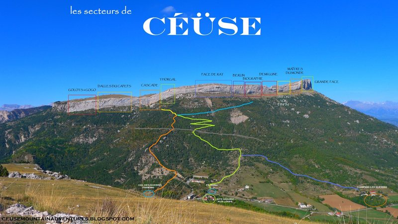 A colorful and motivational topo of the different sectors of Céüse. I had fun making it.